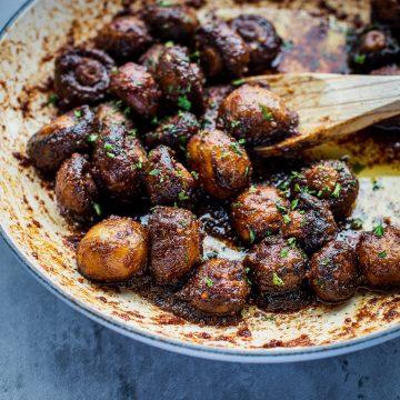 a pan of sauteed mushrooms