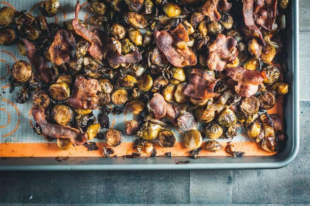 roasted brussel sprouts with bacon and parmesan
