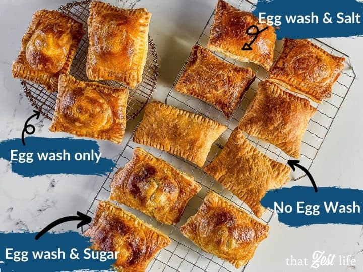 Various egg wash options, with salt, with sugar, just egg wash and no egg wash.