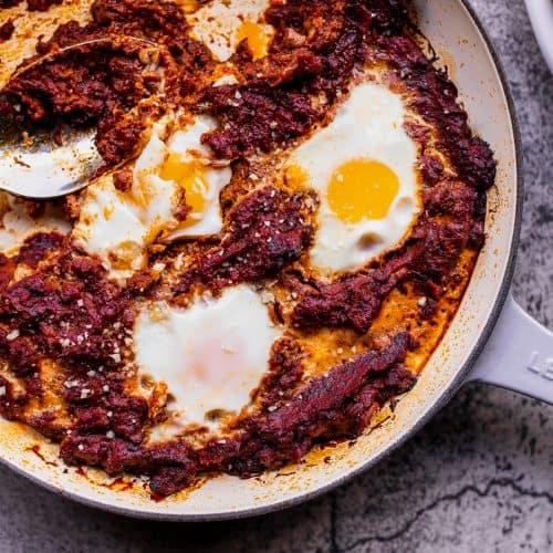 eggs in tomato sauce in a skillet