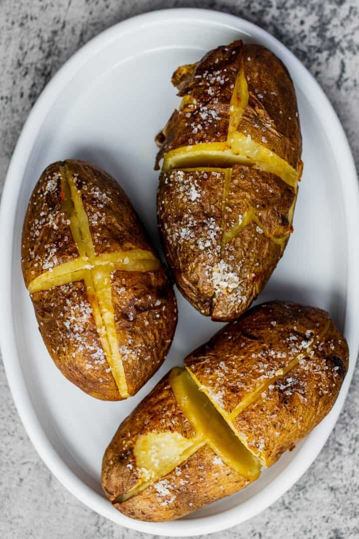 platter of baked potatoes