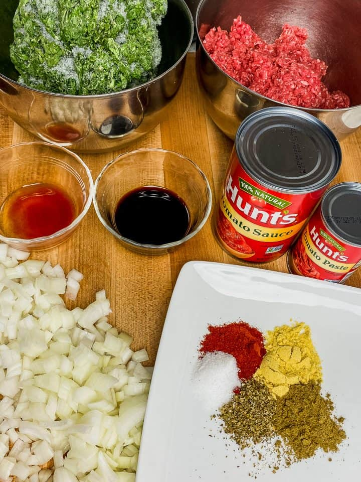 all ingredients needed for sloppy joes out on counter