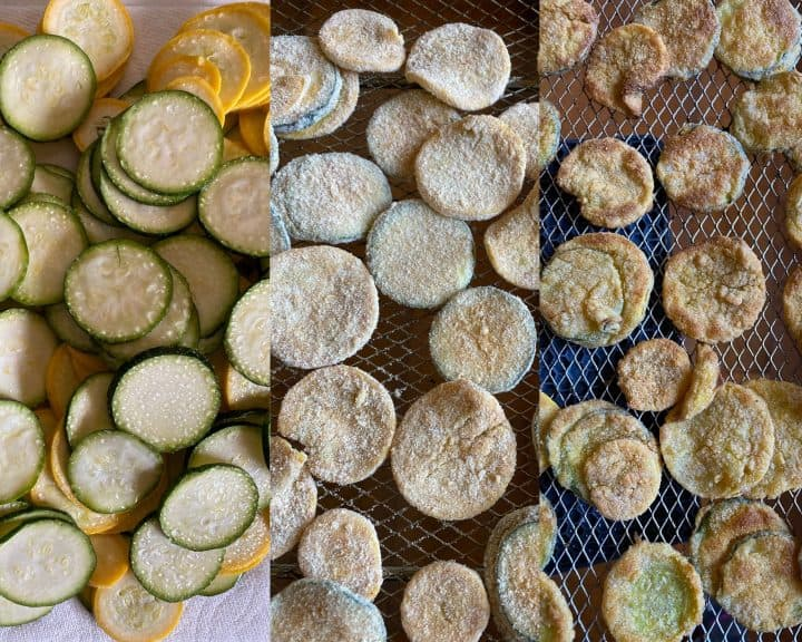 a graphic showing the zucchini sweating from the salt, after being breaded and after being fried