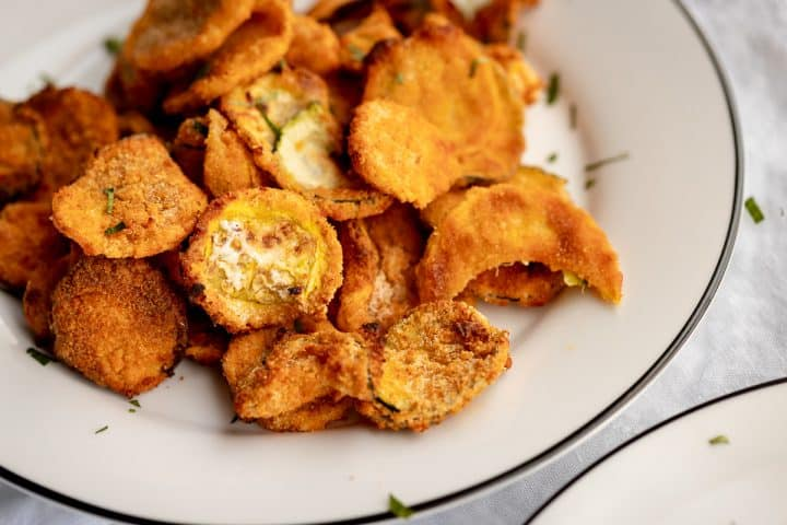 a plate of fried squash close up